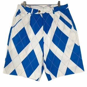 Royal & Awesome Blue and white Plaid Golf Shorts